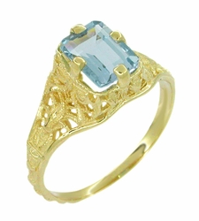 Art Deco Emerald Cut Aquamarine Filigree Engagement Ring in 18 Karat Gold