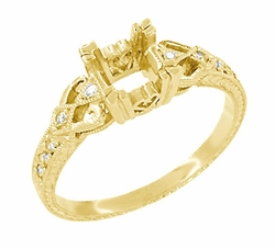 Loving Hearts  3/4 Carat Princess Cut Diamond Engraved Antique Style Engagement Ring Setting in 18 Karat Yellow Gold