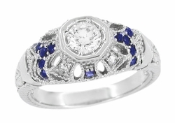 Art Deco Filigree Vintage Inspired Diamond Engagement Ring with Side Sapphires in 14K White Gold
