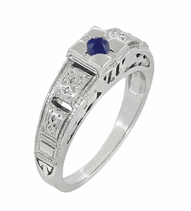 Art Deco Engraved Blue Sapphire Ring in Sterling Silver - Item SSR160S - Image 1