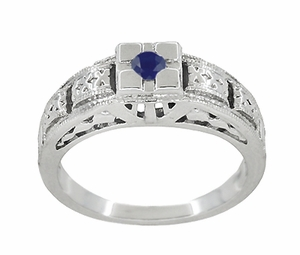 Art Deco Engraved Blue Sapphire Ring in Sterling Silver - Click to enlarge