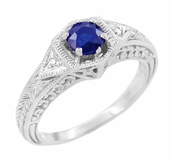 Art Deco Sapphire and Diamond Filigree Engraved Engagement Ring in Platinum