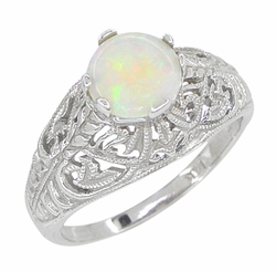 Opal Filigree Ring in 14 Karat White Gold