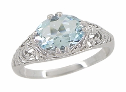 Edwardian Oval Aquamarine Filigree Engagement Ring in 14 Karat White Gold