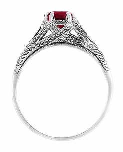 Art Deco Ruby Filigree Engraved Engagement Ring in Sterling Silver - Item SSR2R - Image 1