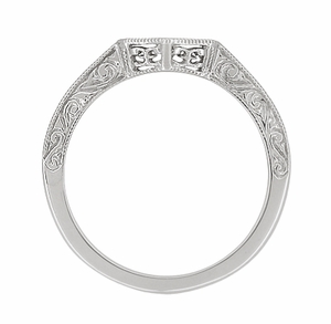 Art Deco Filigree Scrolls Engraved Contoured Wedding Band in 14 Karat White Gold - Click to enlarge