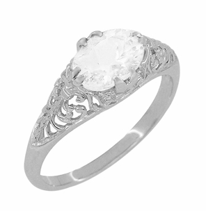 Edwardian Oval White Topaz Antique Style Filigree Engagement Ring in 14 Karat White Gold - Item R799WWT - Image 1