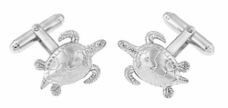 Sea Turtle Cufflinks in Sterling Silver