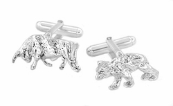 Bull and Bear Cufflinks in Sterling Silver