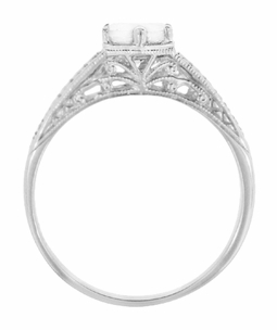 Art Deco Scrolls and Wheat White Sapphire Solitaire Filigree Engraved Engagement Ring in 18 Karat White Gold - Click to enlarge