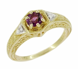 Art Deco Amethyst and Diamond Filigree Engagement Ring in 14 Karat Gold