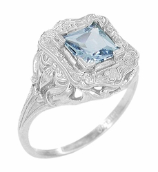 Art Nouveau Ring with Princess Cut Aquamarine in 14K White Gold