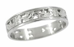 Art Deco Filigree Scrolls and Flowers Wedding Band in Platinum
