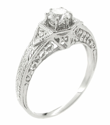 Art Deco 1/3 Carat Diamond Filigree Ring Setting in 14 Karat White Gold