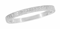 Art Deco Engraved Wheat Wedding Band in Sterling Silver
