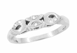 Retro Moderne Filigree Scalloped Diamond Wedding Band in 14 Karat White Gold