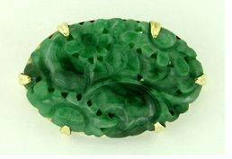 Jade Brooch set in 14 Karat Gold