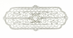 Edwardian Diamond Set Filigree Brooch in 10 Karat White Gold