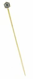 Antique Victorian Hematite Stickpin in 14 Karat Gold