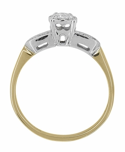 Art Deco Two Tone Vintage Diamond Engagement Ring in 14 Karat Gold - Click to enlarge