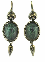 Victorian Genuine Scarab Antique Earrings in 15 Karat Gold