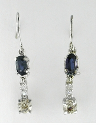 Sapphire and Diamond Drop Earrrings in 14 Karat White Gold