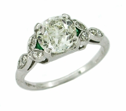 Antique Diamond and Emerald Platinum Engagement Ring