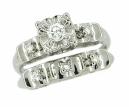 Retro Moderne Diamond Wedding Set in 14 Karat White Gold