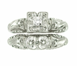 Retro Moderne Hearts and Clovers Diamond Wedding Set in 14 Karat White Gold