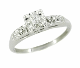 14 Karat White Gold Retro Moderne Antique Diamond Engagement Ring