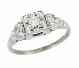 Art Deco Diamond Antique Filigree Engagement Ring in 14 Karat White Gold
