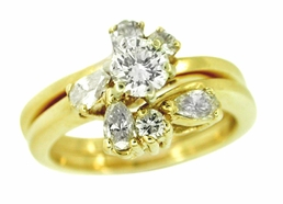 Round and Pear Shaped Diamond Estate Wedding Set in 14 Karat Gold