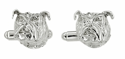 Bulldog Cufflinks in Sterling Silver - Bull Dog Head Cufflinks