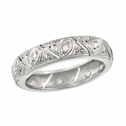 Art Deco Abington Antique Diamond Filigree Wedding Band in Platinum - Size 6 3/4