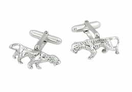 Crouching Tiger Cufflinks in Sterling Silver