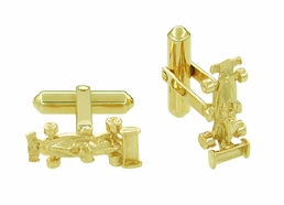 Race Car Cufflinks in 14 Karat Gold