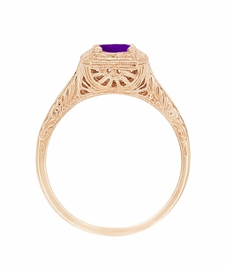 Art Deco Amethyst Filigree Scrolls Engraved 14 Karat Rose Gold Engagement Ring - Click to enlarge