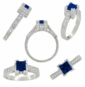 1920's Vintage Inspired Princess Cut Square Blue Sapphire Engagement Ring in 18K White Gold | 3/4 Carat - Item R662S - Image 1