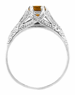 Art Deco Citrine Filigree Engraved Ring in Sterling Silver - Click to enlarge