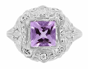 Princess Cut Amethyst Art Nouveau Ring in Sterling Silver - Item SSR615AM - Image 2