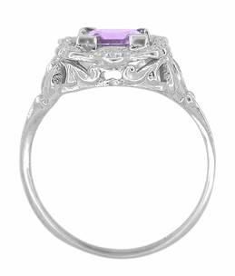 Princess Cut Amethyst Art Nouveau Ring in Sterling Silver - Click to enlarge