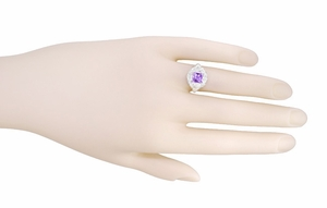 Princess Cut Amethyst Art Nouveau Ring in Sterling Silver - Item SSR615AM - Image 5