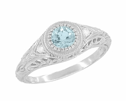Art Deco Engraved Aquamarine and Diamond Filigree Engagement Ring in 14 Karat White Gold