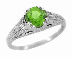 Art Deco Peridot Filigree Engraved Ring in Sterling Silver