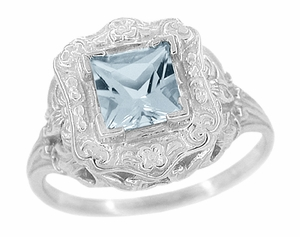 Princess Cut Sky Blue Topaz Art Nouveau Ring in Sterling Silver - Click to enlarge
