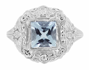 Princess Cut Sky Blue Topaz Art Nouveau Ring in Sterling Silver - Item SSR615BT - Image 2