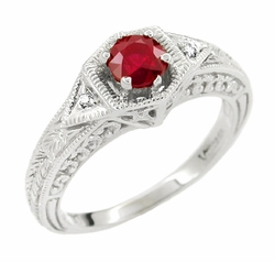 Art Deco Ruby and Diamond Filigree Engraved Engagement Ring in Platinum