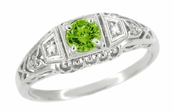 Art Deco Filigree Demantoid Garnet Engagement Ring in Platinum