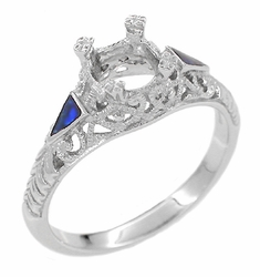 Art Deco 3/4 - 1 Carat Filigree Engagement Ring Setting in 14K White Gold | Sapphire Side Stones