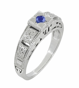 Art Deco Filigree Engraved Blue Sapphire Engagement Ring in Platinum, Antique Style Simple Low Profile Sapphire Band - Click to enlarge